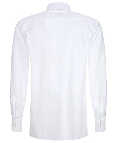 Eterna - Modern Fit - Bügelfreies Herren Langarm Hemd mit Kent Kragen in Weiß oder Blau (4606 X177) Weiß (00)