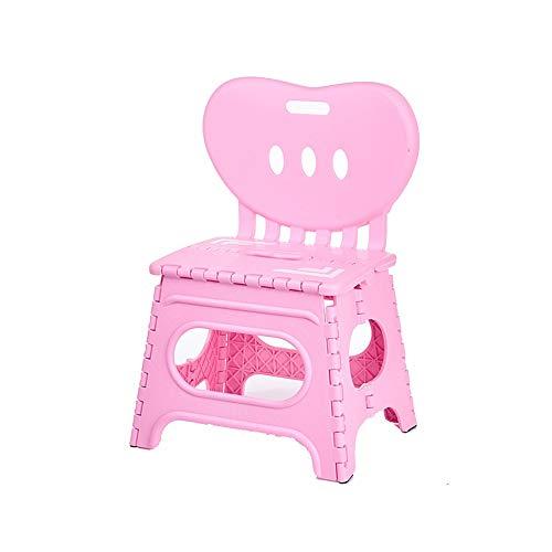 Vnlig Klappstuhl Dicker Kunststoff Zurück Tragbare Stuhl Cartoon Kreative Kindergarten Kleine Bank Kinder (Farbe : Pink)