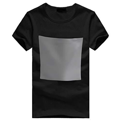 ESAILQ Männer Kurzarm T-Shirt Bluse mit riesiger Fronttasche BucketTee T-Shirt(XX-Large,Schwarz)
