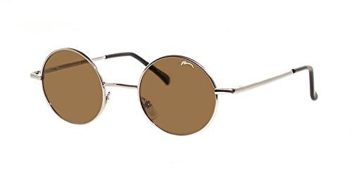 Occhiali da Sole Unisex Rotonde Stile 'Lennon' / Polarizzato /R2317 (R2317B Argento / Lenti Marrone)