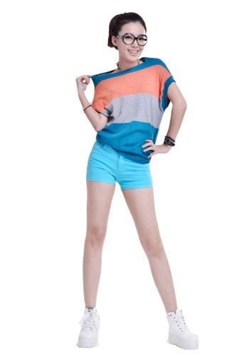 Zll OE Short court pour femme en jeans Skinny Bleu - Bleu clair