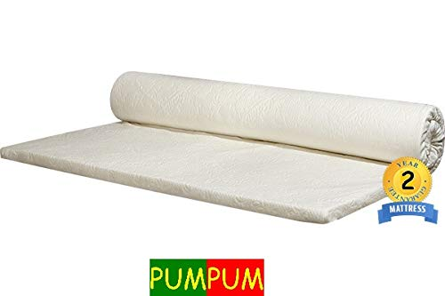 PumPum 75x35x2 Inch Memory Foam Mattress Topper with Cover-Single Mattress, White Image 4