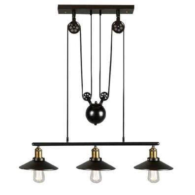Barcelona LED LV242 Lámpara industrial con triple polea al estilo vintage (MODELO CLOCK WORK)