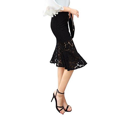 Da donna Merletto sexy della maglia Maxi Gonne di sirena vestito Nero