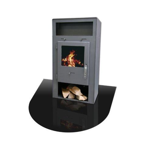 KAMINO FLAM Bodenplatte 555245 schwarz, hitzebeständige Hitzeschutzplatte, einbrennlackierte...
