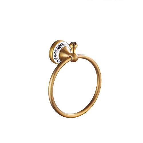 Handtuch-Ring-Holder, Bar Bath Rack Ring Bronze Hang Hand, Badezimmer-Accessoires-Antike Blaue Blume Porzellan Porzellan Wand 7,8 Zoll (Antique Color),Brass -