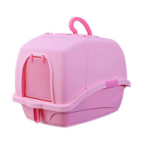 Welhome Cat Litter Box Jumbo, Petlife Cat Toilet, Hooded Cat Litter Box, PP Resin Litter Tray, Fully Enclosed Cat Kitty Litter Pan, for Cat oder Dog Use Pots,Pink,A
