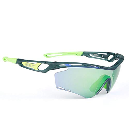 BALYP Fahrradbrille Radsport-Laufbrille Polarisierte Sport-Sonnenbrille 2 Wechselgläser 8 Farben Radsportbrille Für das Radfahren im Freien (Color : Green Frame Emerald Green Arm)