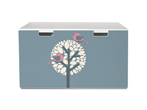 Preisvergleich Produktbild yourdea Tattoo für Kinderzimmer IKEA Stuva Kommode mit Motiv: Zwei Rosa Vögel