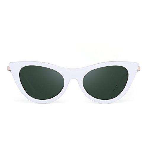 JIM HALO Katzenauge Flach Getönt Klar Linsen Clout Goggles Sonnenbrille Mode Brille Damen (Weiß/Grün)