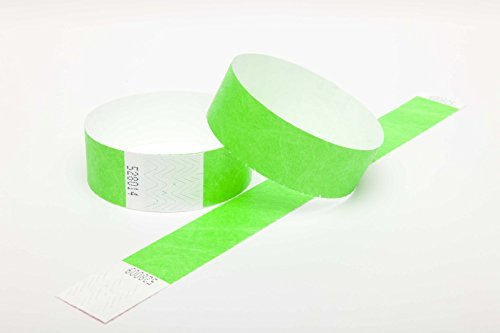 100 Tyvek security paper event wristbands (neon green, 1
