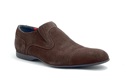 248cc28d3ff Men s PRATIK Madeira Slip-On Leather Suede Shoes in Brown and Black (45 EU