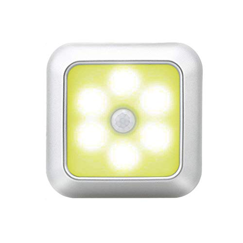 BUBU5 Luz de Sensor de Movimiento, Armario Blanco/Plateado Luz de Noche para...