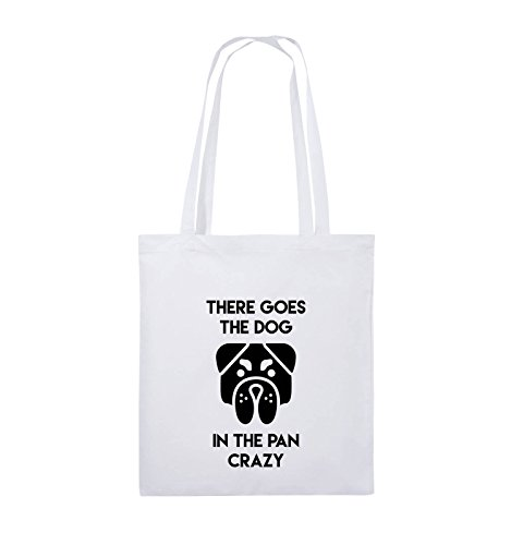 Comedy Bags - THERE GOES THE DOG IN THE PAN CRAZY - Jutebeutel - lange Henkel - 38x42cm - Farbe: Schwarz / Silber Weiss / Schwarz
