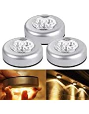 EVALUEMART® Set of 3pcs Battery Powered Round White 3 LEDs Stick Tap Touch Lamp Night Light