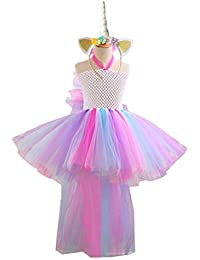 f6df42ed5026b Amosfun Déguisement de Licorne Robe de Princesse Licorne Serre-tête de  Licorne pour Petite Fille Anniversaire…
