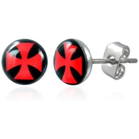 cameleon-shop-braccialetto–Orecchini a perno–Acciaio Inossidabile–Croce pattée Rosso Sfondo nero 8mm