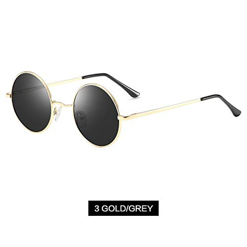 CCGKWW Polarisierte Sonnenbrille Männer Metall Kleine Runde Vintage Sonnenbrille Retro John Lennon Brille Frauen Marke Driving Eyewear