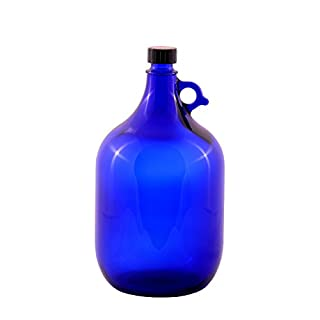 Glass balloon Bottle Gallon Blue glass Bottle 2 Liter or 5 Liter Screw cap Synthetic black - Henk eleven tab blue glass, ideal for Aquadea Crystal - Swirl Water, Two Litre or Five Litre - 1 x 5 Liter