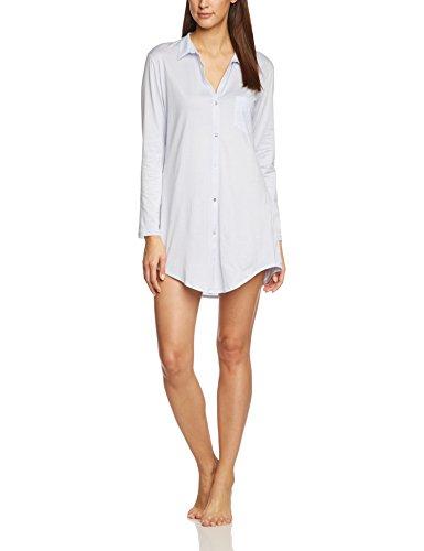 HANRO Damen Nachthemd 1/1 Arm 90 cm Cotton Deluxe (0511 blue glow), Gr. M (Sleepshirt Boyfriend)