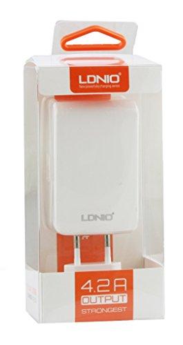 Preisvergleich Produktbild LDNIO® Thomson TH-BK1 / Thomson Teo 10 / Thomson Neo 10 Tablet PC 10.1 Zoll Packung 10 Weiß 4.2 Amp Quad 4 USB Anschluss 2 Pin EU Netz schnelle Plug Power Adapter Wand Ladegerät