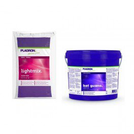 Terreau Plagron Bio Light Mix 50 litres+Bat Guano 1 litre