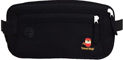 Premium Bauchtasche Gürteltasche Hüfttasche - Schütze Deine Wertsachen - Extra flach für Damen Herren Kinder/Travel Ninja Reise-Bauchtasche im Urlaub - Schwarz