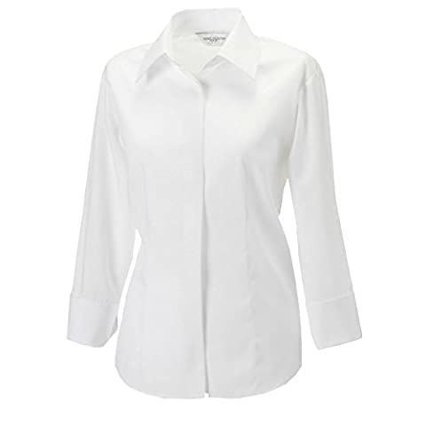 RUSSELL Women's Three Quarter Sleeve Work Shirt (Sizes 8-22) Eco Friendly Formal Corporate Blouse Ideal For Office