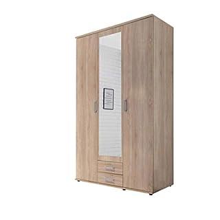 Avanti Trendstore - Martino - Kleiderschrank mit Dreh- und Schwebetüren in Holzdekor in der Farbe weiß und Wildeiche. Viel Stauraum und inklusive Soft-Close. Maße: 312x225x61 cm