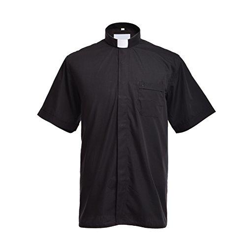 BLESSUME Clero Camicia con Collare linguetta Nero Unisex