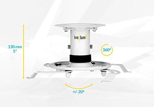 ivolum universal Beamer-Deckenhalterung PDH130 – weiß – Traglast bis 15 Kg - 2