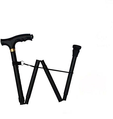 Einstellbar Cane (MZP Aluminium Krücken ältere Single-Fuß-Gehstock ältere Falten Teleskop Skid Cane , Black)