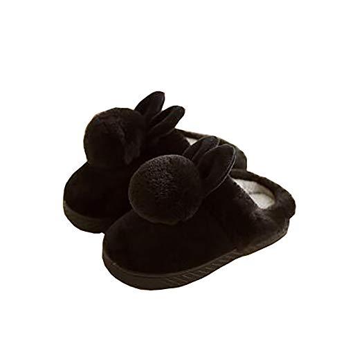 Tukistore Kinder Mädchen Jungen Winter Hausschuhe Plüsch Rutschfeste Slippers Draußen drinnen Wärme Hausschuhe mit Pompon für Herbst und Winter