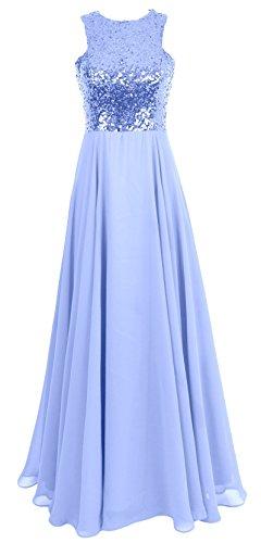 MACloth Women Sequin Chiffon Long Wedding Bridesmaid Dress Formal Evening Gown Sky Blue