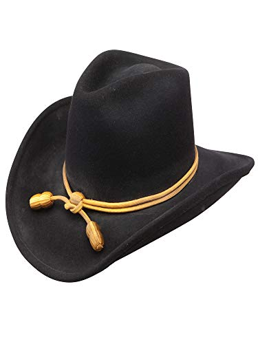 Stetson Men's Fort Crushable Wool Leather Hatband Western Cowboy Hat - Black -