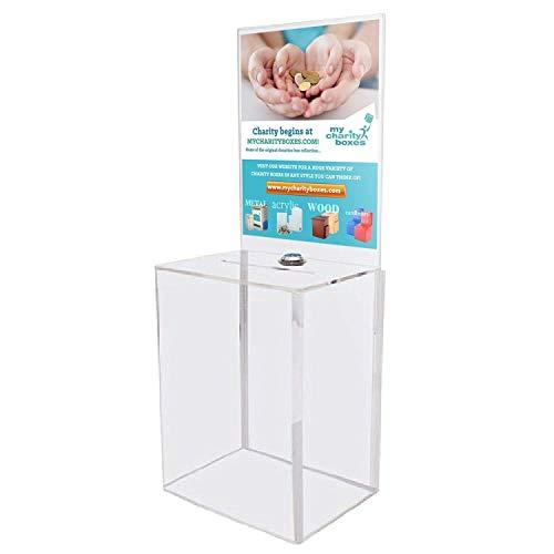 My Charity Boxes-Contenitore per donazioni, turno, suggerimenti, in materiale acrilico, confezione con Display grande con scatola Area