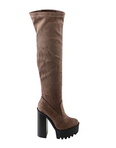 Eyekepper Chaussure / botte femme demoiselle - chaussures botte a talon haut Kaki