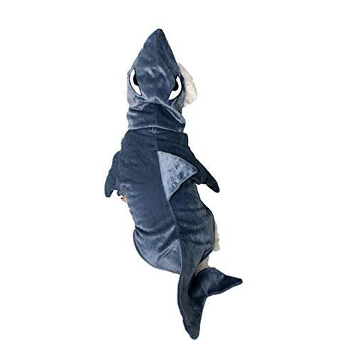 Balacoo Hunde-Kostüm, Hai-Kostüm, süßer Blauer Hai Haustier-Kostüm, Tier-Kapuzen-Kostüm, Fleece, warme Outfits für Haustiere, Halloween, - Blau Hai Kostüm Für Katzen