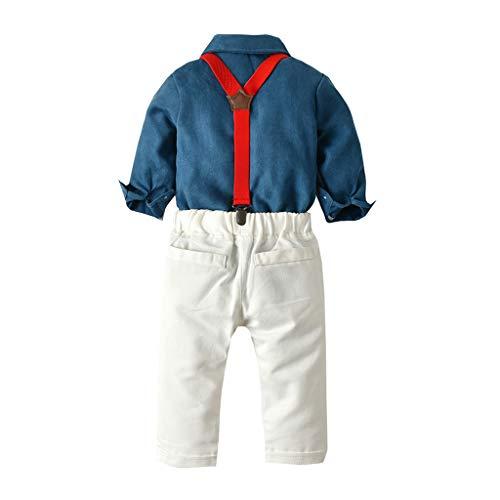 DIASTR Baby Jungen Bekleidungssets 100% Baumwolle Anzug Gentleman Festliche Taufe Hochzeit für Herbst Kleinkind Baby Boys Gentleman Dot Fliege T-Shirt Tops + Hosenträger Hosen Outfits -