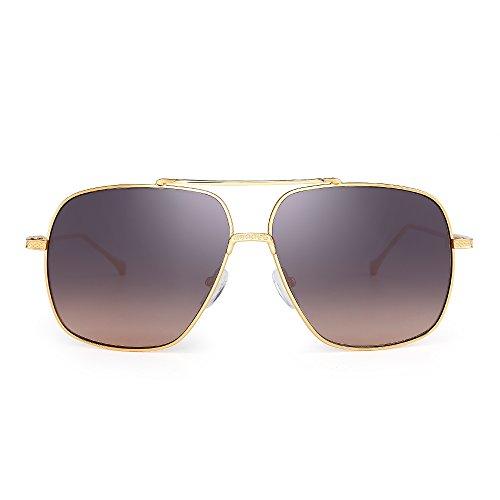 Oversize Flieger Sonnenbrille Gradient Klar Linse Pilot Metall Gläser Damen Herren(Gold/Braun)