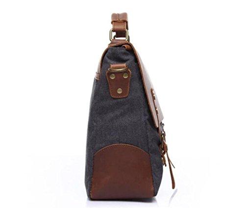 SHFANG Vintage Canvas Tasche / Mann Schultertasche / Umhängetasche, Handtasche, Aktentasche, Einkaufen / Arbeit / Reisen , dark grey dark grey