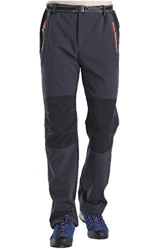 Geval Pantalon coupe-vent Softshell molleton neige ski Hommes randonnée pantalon en plein air Gris foncé