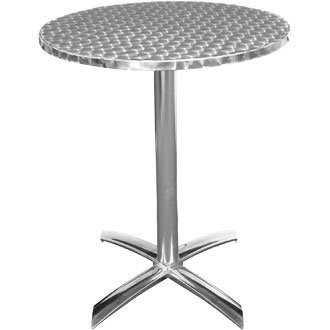 Bolero U423 rond piédestal Table de bistrot, Acier inoxydable, Flip Top, 600 mm, argent