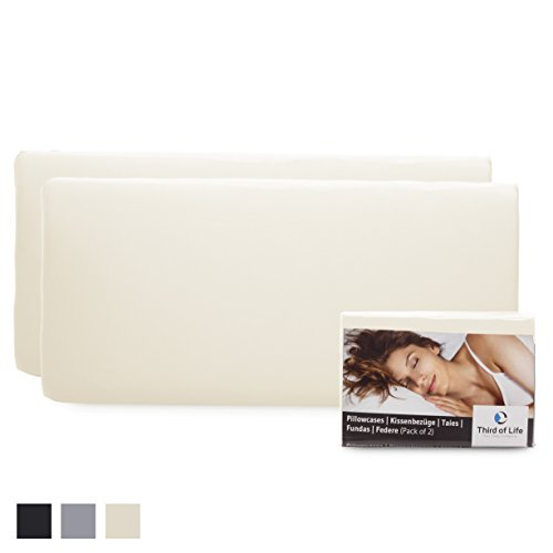 Hochwertiger Kissenbezug Doppelpack (2er Set, Elfenbein-Weiß uni) für 40x80 Kissen, speziell HADAR – Baumwolle, Double Jersey, guter Fit, bügelfrei, 3 Jahre Garantie, Kissenhülle mit Reißverschluss