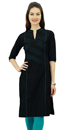 Damen Kurta (Phagun Damen Baumwolle Straight Pintex Kurta Kurti Casual Sommer Indische Ethnische Tunika Top)
