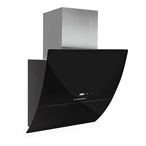 Klarstein RGL60BL Hotte aspirante Hotte aspirante murale Évacuation/Recyclage 3 niveaux de performance Évacuation d'air max: 600 m³/h Façade en verre LED Écran Timer Noir