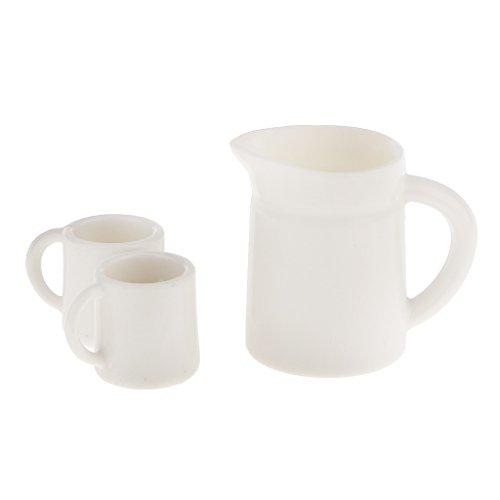 3 tlg. Set Miniatur Becher & Pot für Puppenstube Puppenhaus Küche Serviette