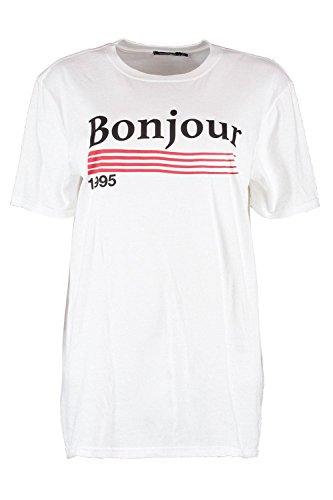 blanc Femmes Grace Bonjour 1995 Slogan Oversized Tee Blanc