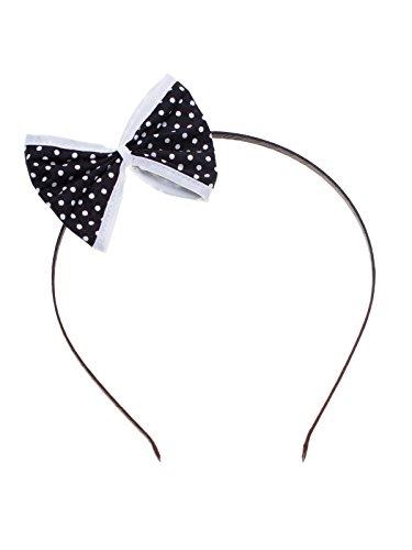 Haarreifen mit Schleife schwarz mit weissen Punkten und weissen Rand