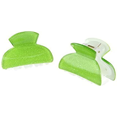 Chicas Lindas un par of Brillante Efecto Brillo 4cm Clip Pelo Uñas - verde lima